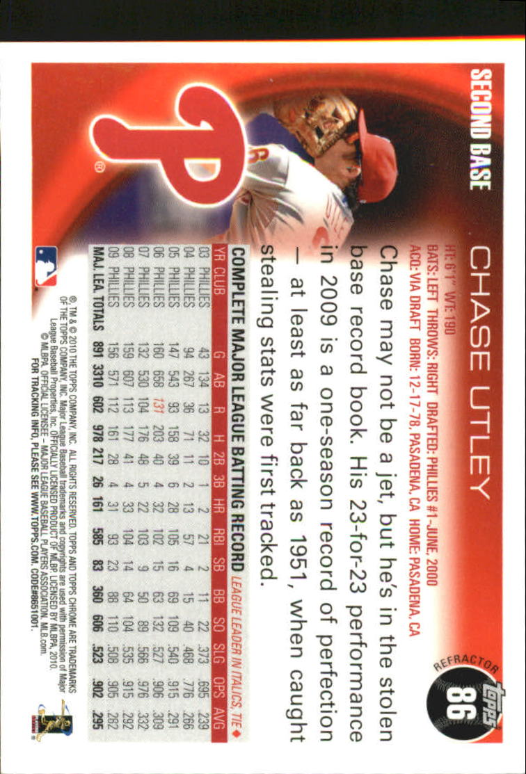 2010 Topps Chrome Refractors #86 Chase Utley back image