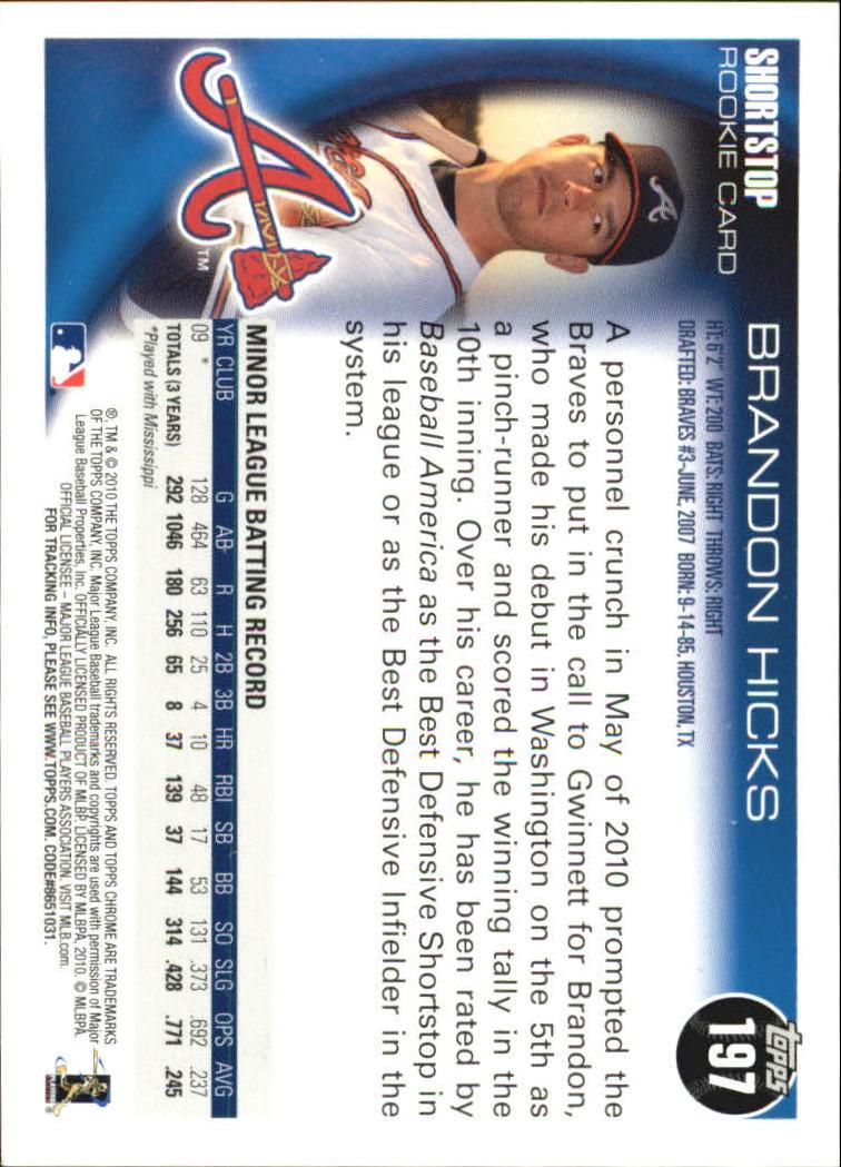 2010 Topps Chrome Rookie Autographs #197 Brandon Hicks back image