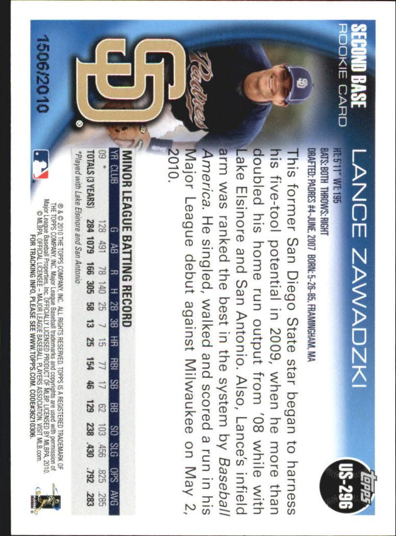 2010 Topps Update Gold #US296 Lance Zawadzki back image