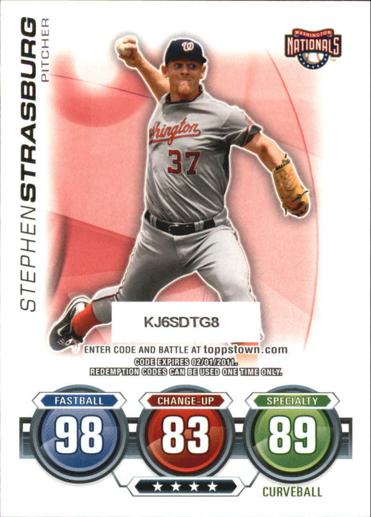 2010 Topps Update Attax Code Cards #76 Stephen Strasburg back image