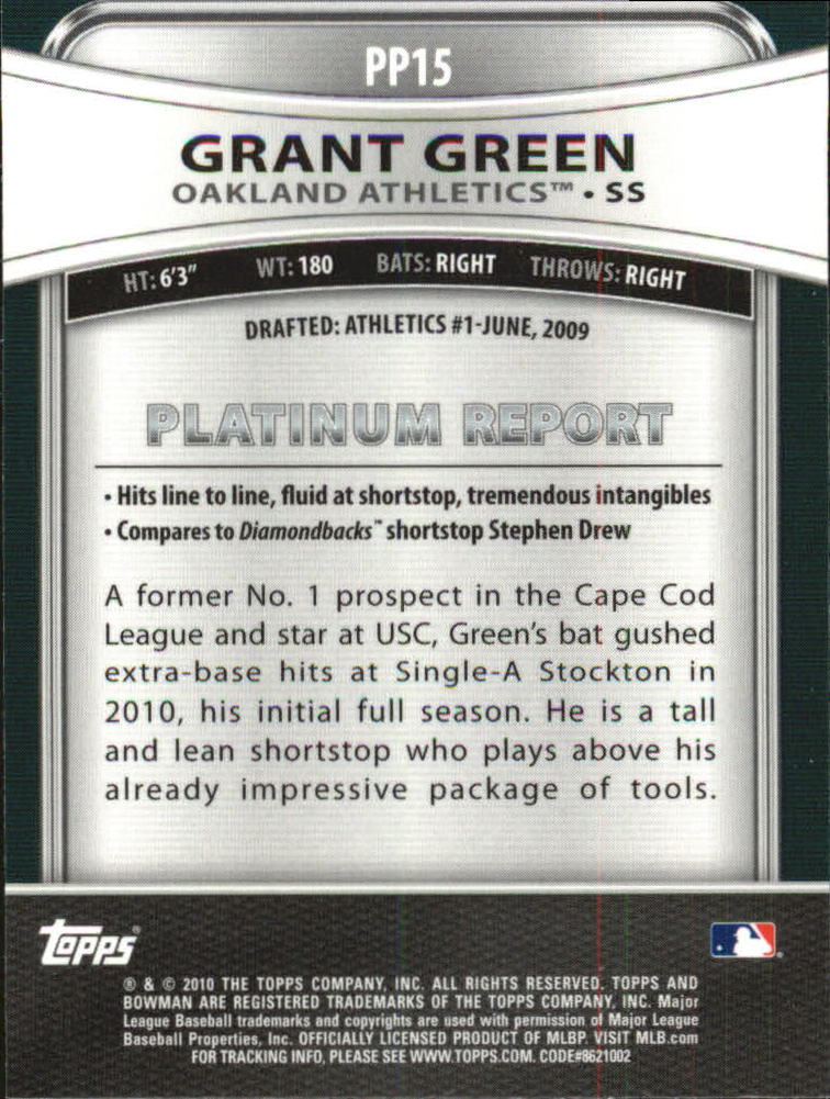 2010 Bowman Platinum Prospects #PP15 Grant Green back image