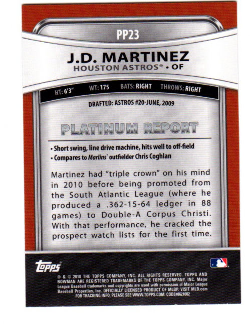 2010 Bowman Platinum Prospects #PP23 J.D. Martinez back image