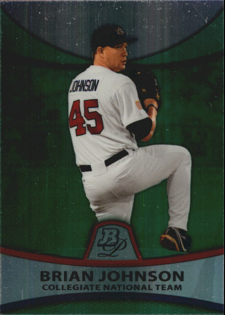 2010 Bowman Platinum Prospects Green Refractors #PP38 Brian Johnson
