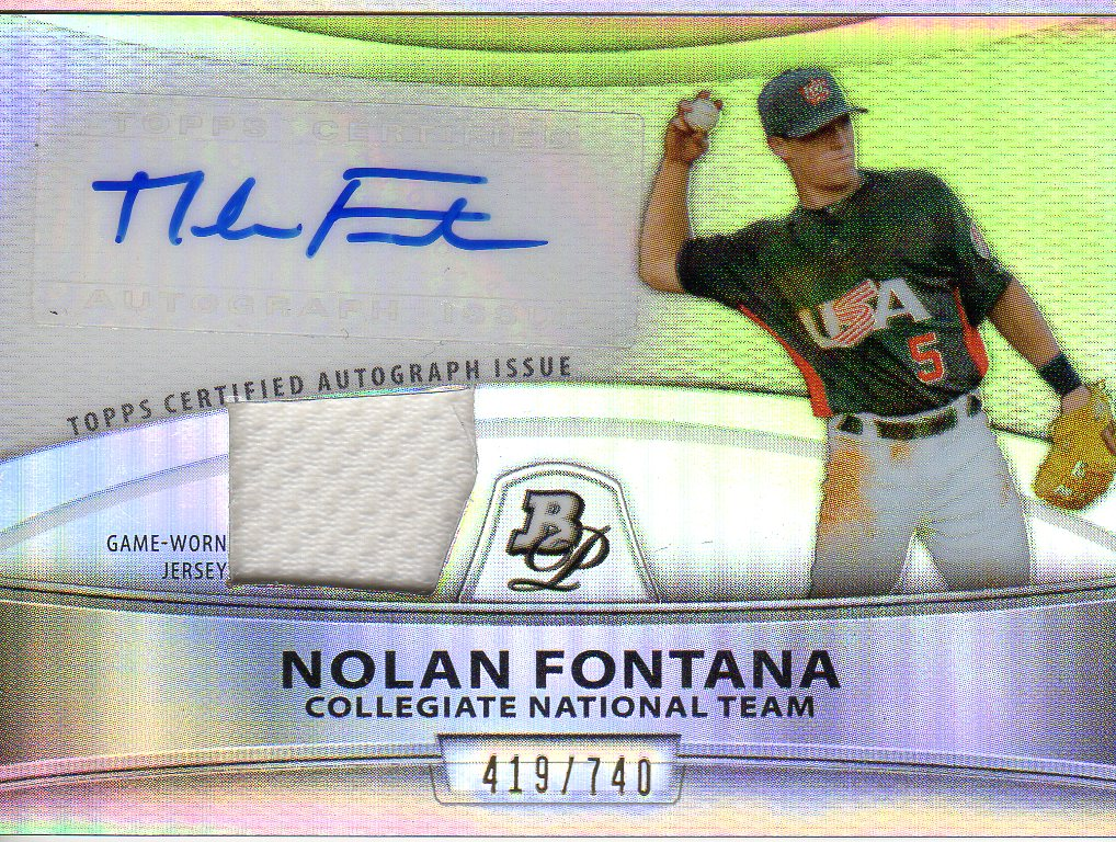 2010 Bowman Platinum Relic Autographs Refractors #NF Nolan Fontana