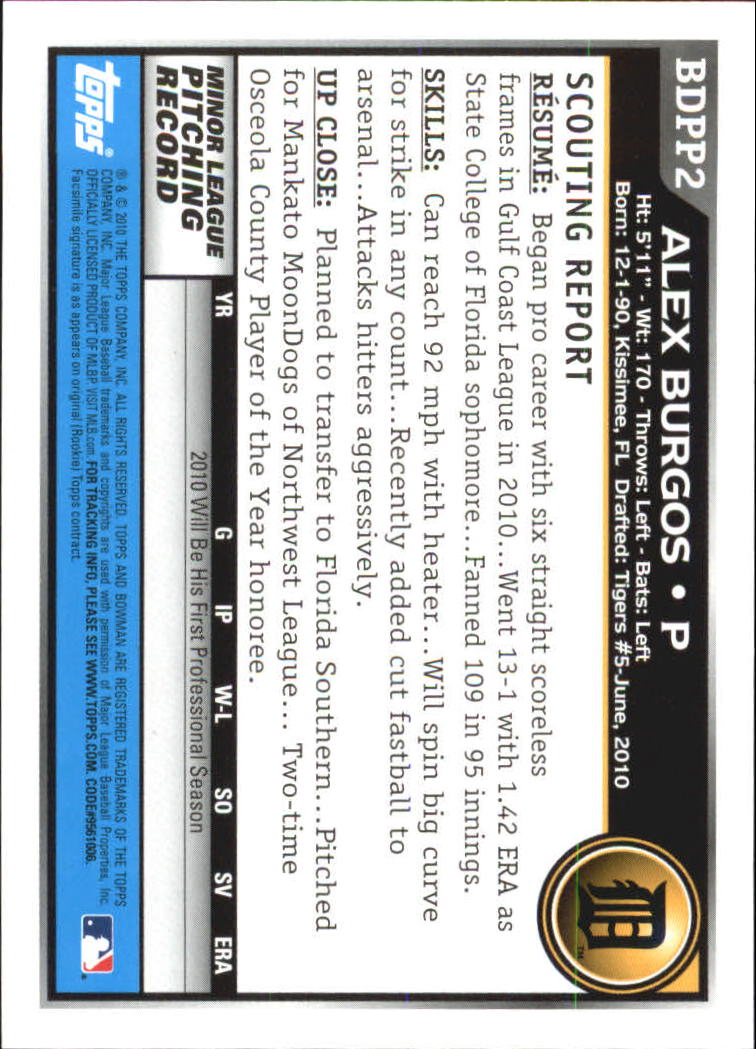 2010 Bowman Draft Prospects #BDPP2 Alex Burgos back image