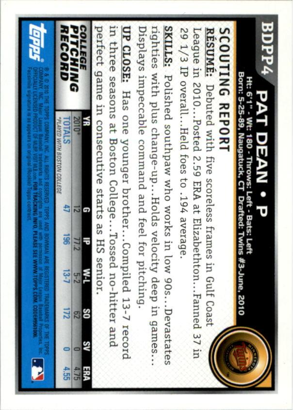 2010 Bowman Draft Prospects #BDPP4 Pat Dean back image