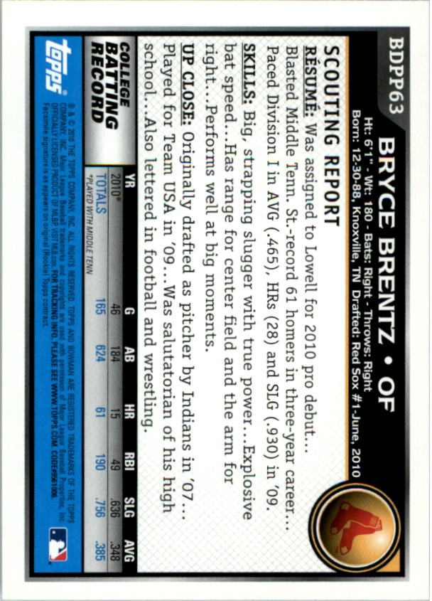 2010 Bowman Draft Prospects #BDPP63 Bryce Brentz back image