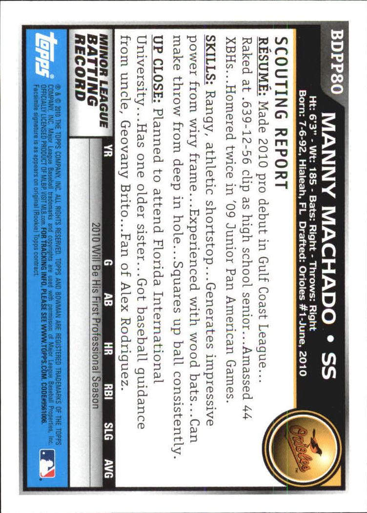 2010 Bowman Draft Prospects #BDPP80 Manny Machado back image