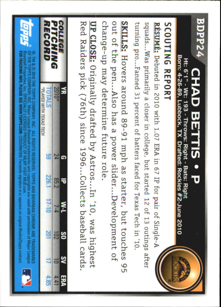 2010 Bowman Chrome Draft Prospects #BDPP24 Chad Bettis back image