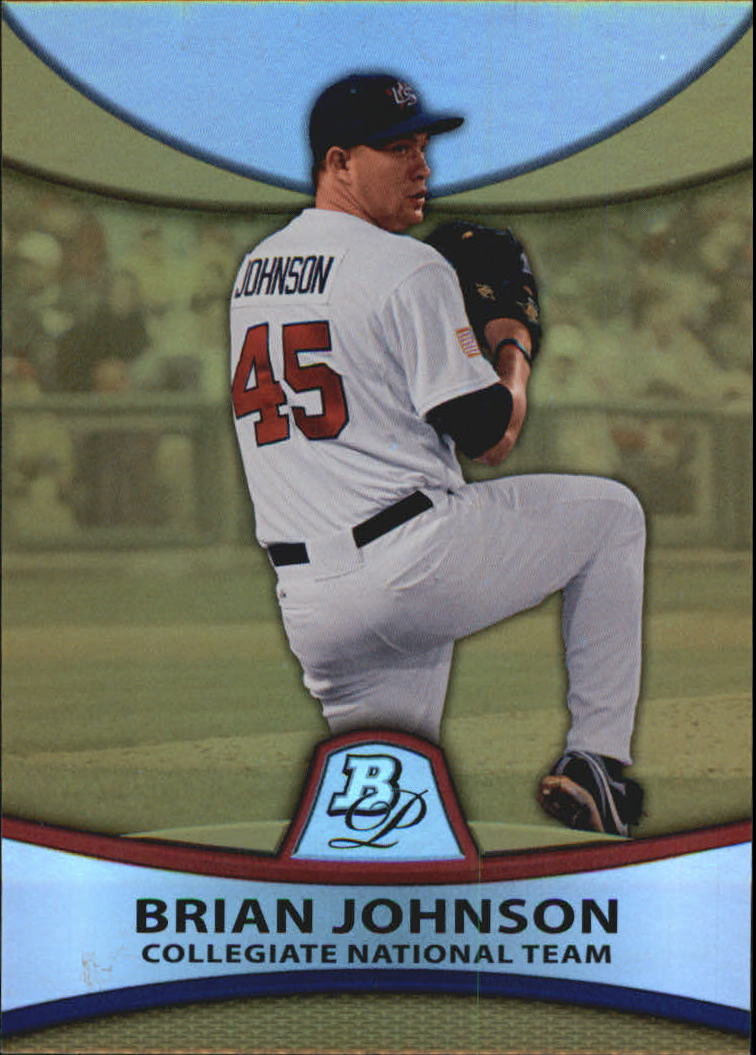 2010 Bowman Platinum Prospects Gold Refractors Thick Stock #PP38 Brian Johnson