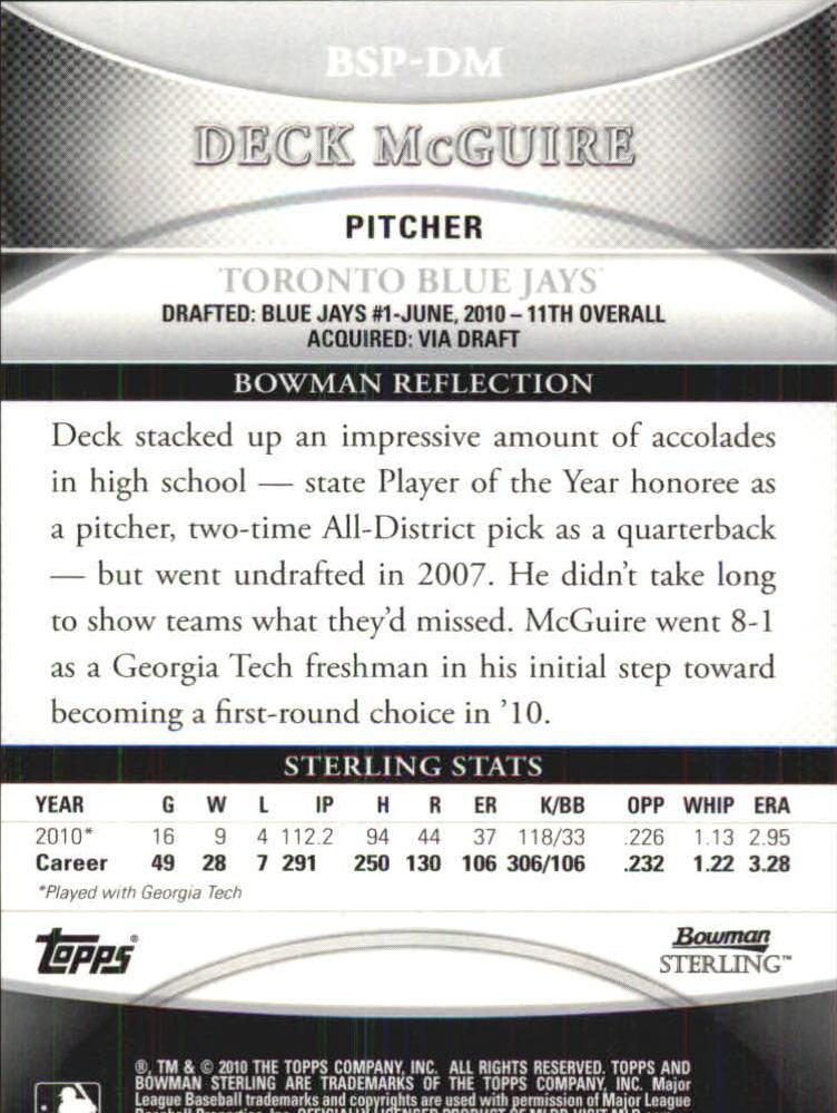 2010 Bowman Sterling Prospect Autographs #DM Deck McGuire back image