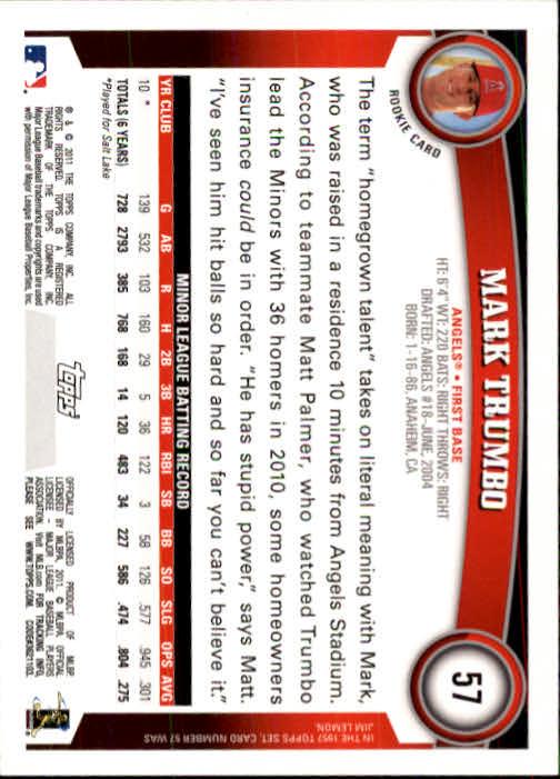 2011 Topps #57 Mark Trumbo (RC) back image