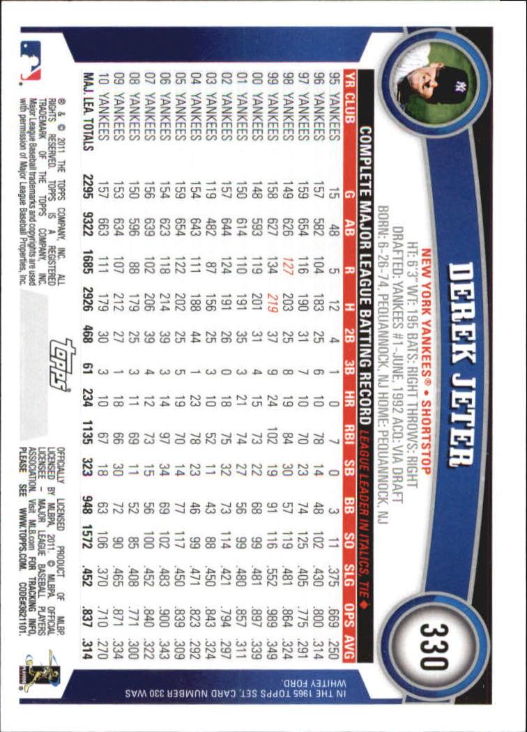 2011 Topps Diamond Anniversary #330A Derek Jeter back image
