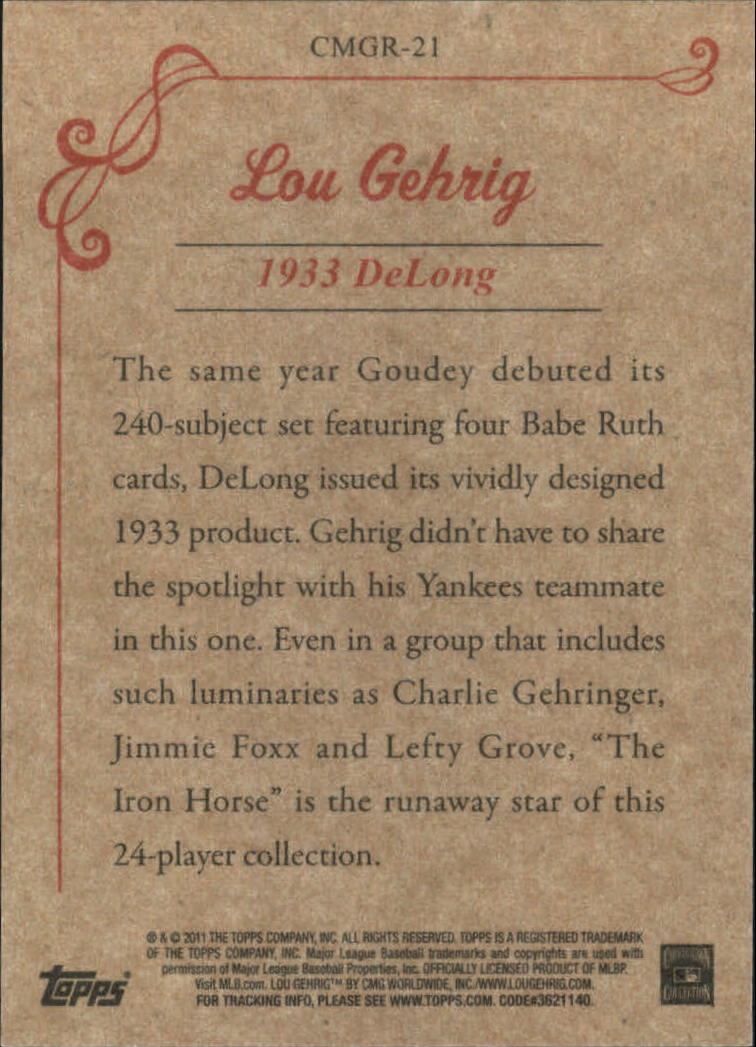 2011 Topps CMG Reprints #CMGR21 Lou Gehrig back image