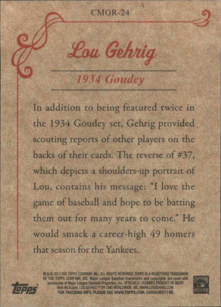 2011 Topps CMG Reprints #CMGR24 Lou Gehrig back image