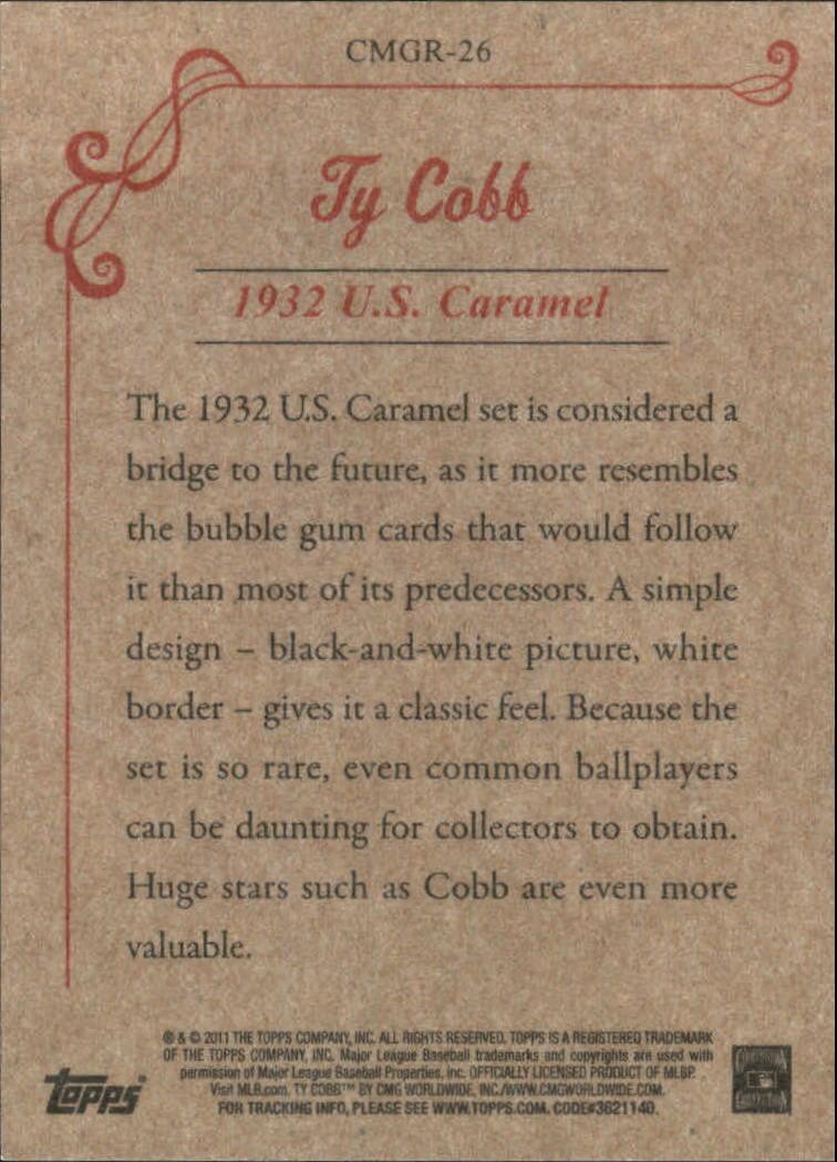 2011 Topps CMG Reprints #CMGR26 Ty Cobb back image