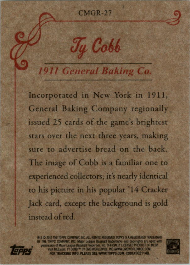 2011 Topps CMG Reprints #CMGR27 Ty Cobb back image