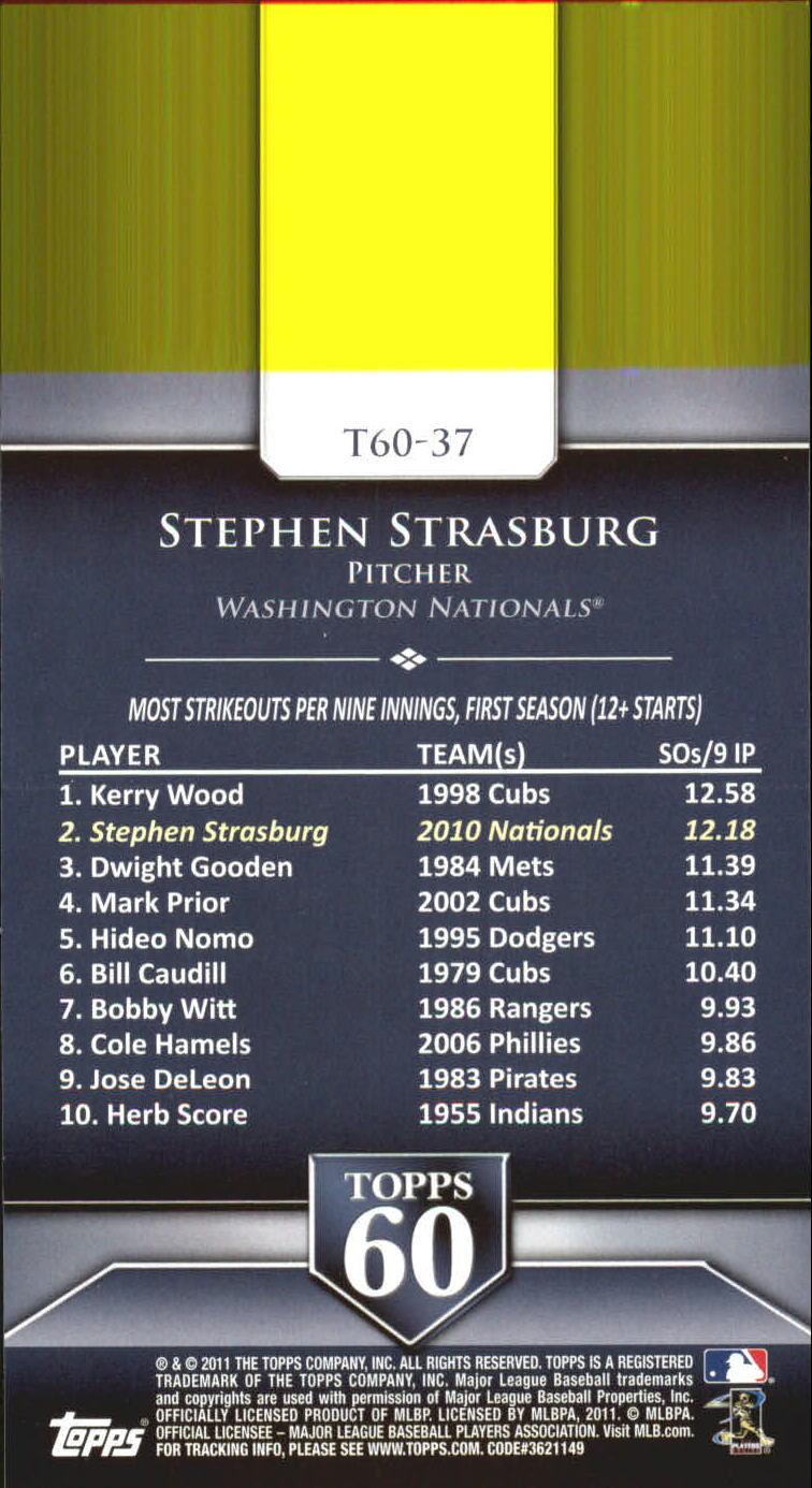 2011 Topps 60 #37 Stephen Strasburg back image
