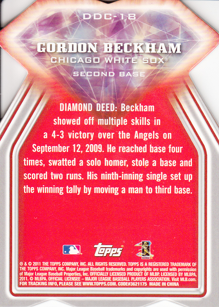 2011 Topps Diamond Die Cut #DDC18 Gordon Beckham back image