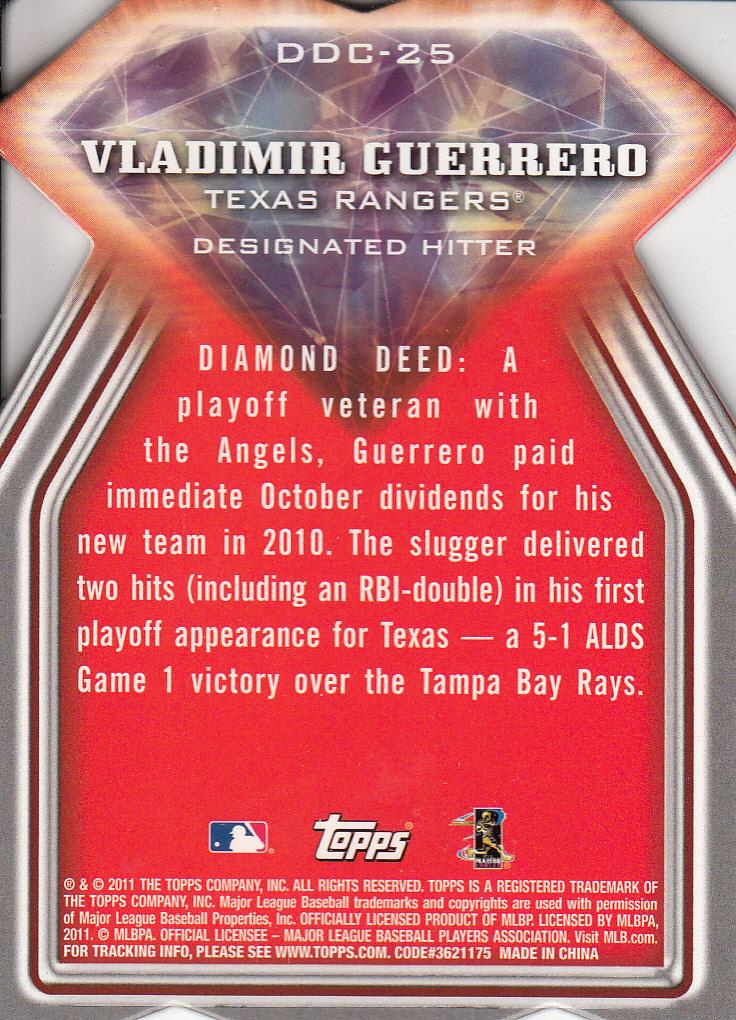 2011 Topps Diamond Die Cut #DDC25 Vladimir Guerrero back image