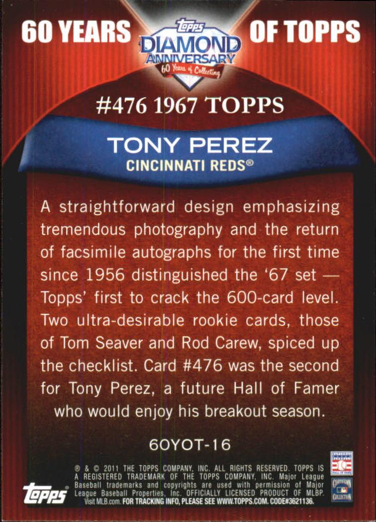 2011 Topps 60 Years of Topps #16 Tony Perez back image
