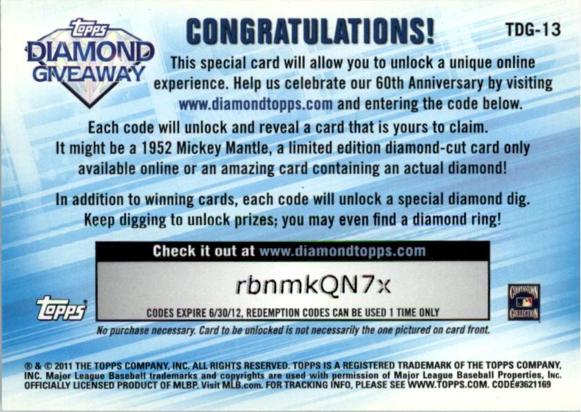 2011 Topps Diamond Giveaway #TDG13 Nolan Ryan back image