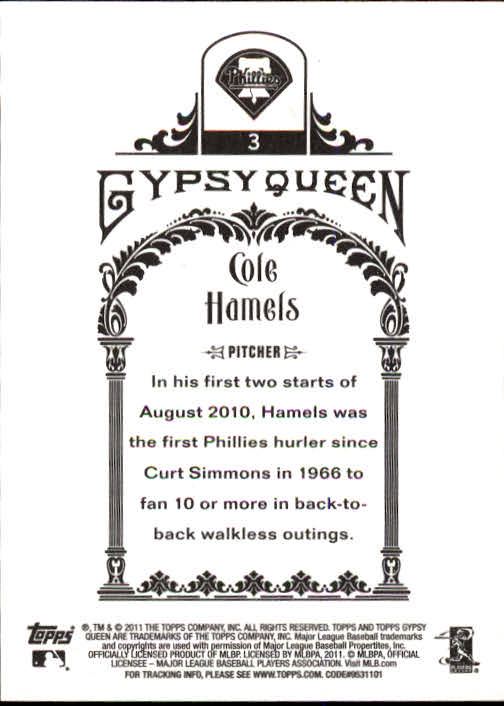 2011 Topps Gypsy Queen #3 Cole Hamels back image