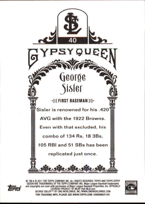 2011 Topps Gypsy Queen #40 George Sisler back image