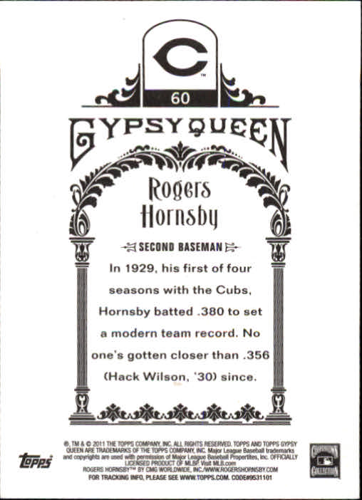 2011 Topps Gypsy Queen #60 Rogers Hornsby back image