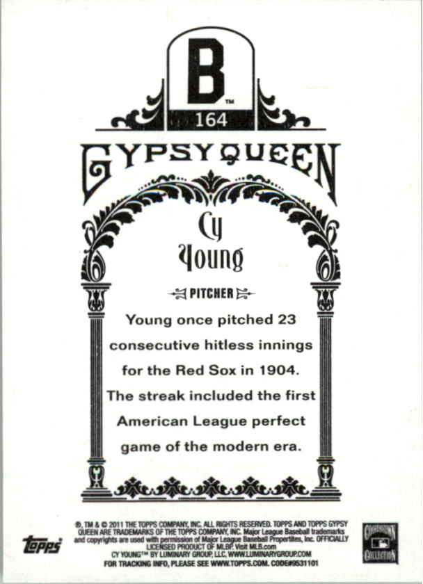 2011 Topps Gypsy Queen #164 Cy Young back image