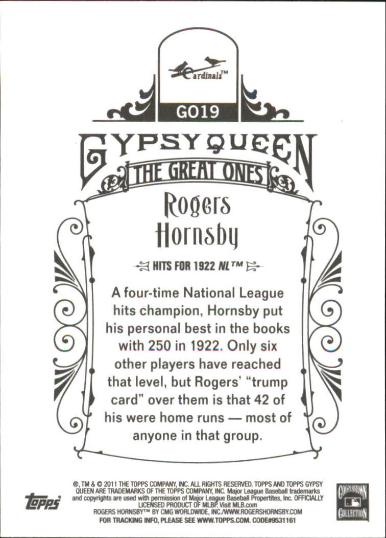 2011 Topps Gypsy Queen Great Ones #GO19 Rogers Hornsby back image