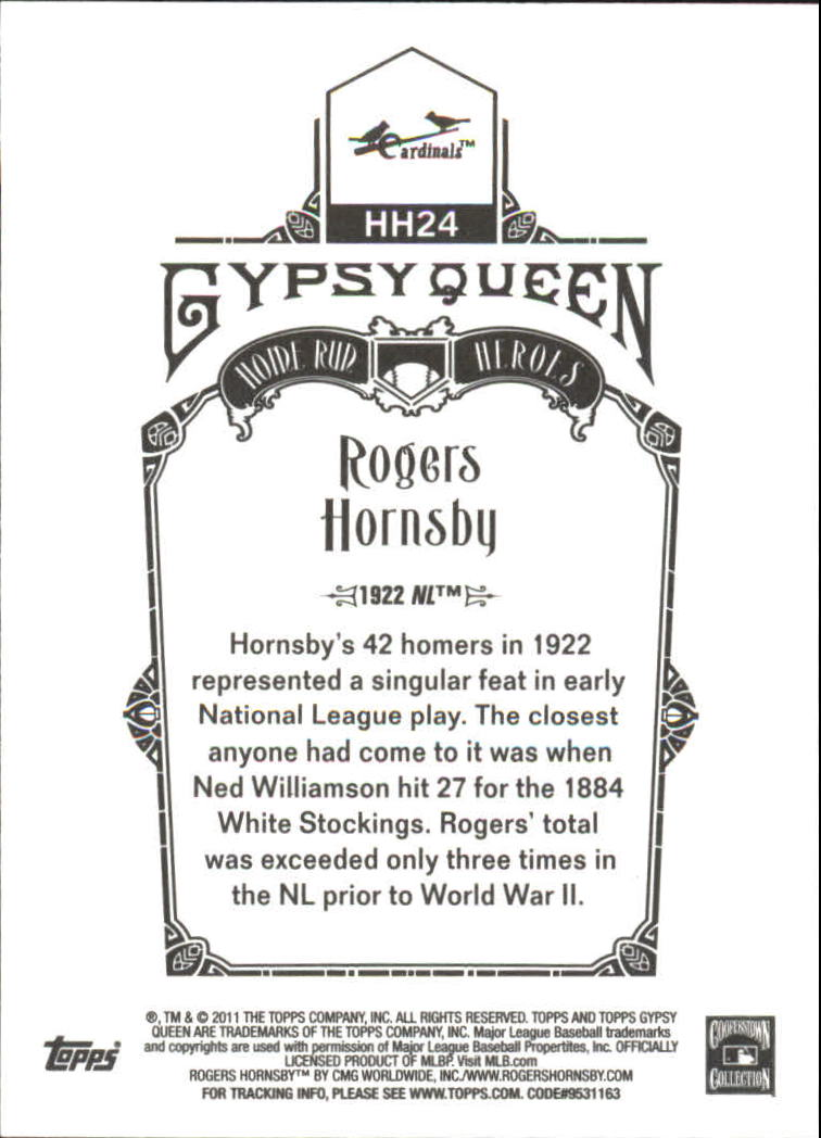 2011 Topps Gypsy Queen Home Run Heroes #HH24 Rogers Hornsby back image