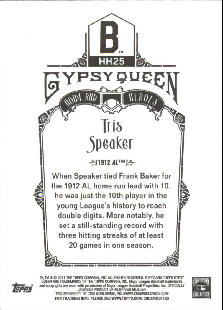 2011 Topps Gypsy Queen Home Run Heroes #HH25 Tris Speaker back image