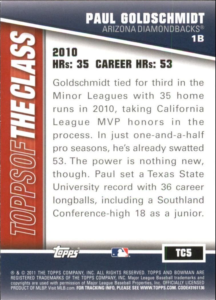 2011 Bowman Topps of the Class #TC5 Paul Goldschmidt back image