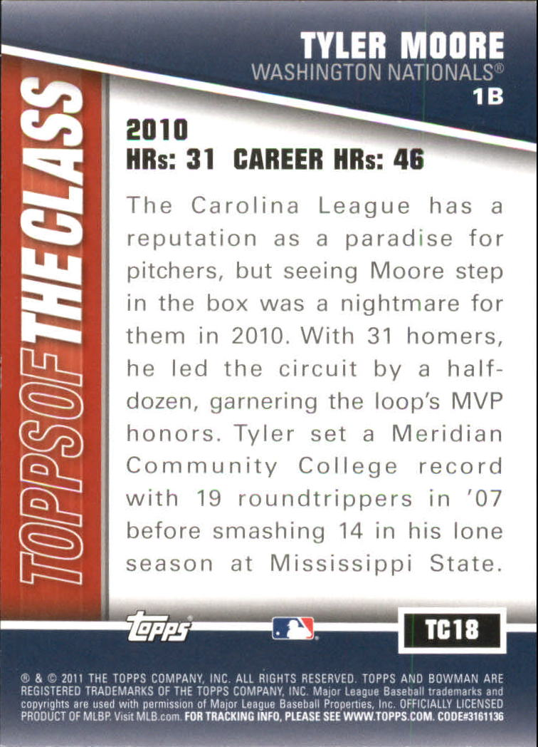 2011 Bowman Topps of the Class #TC18 Tyler Moore back image