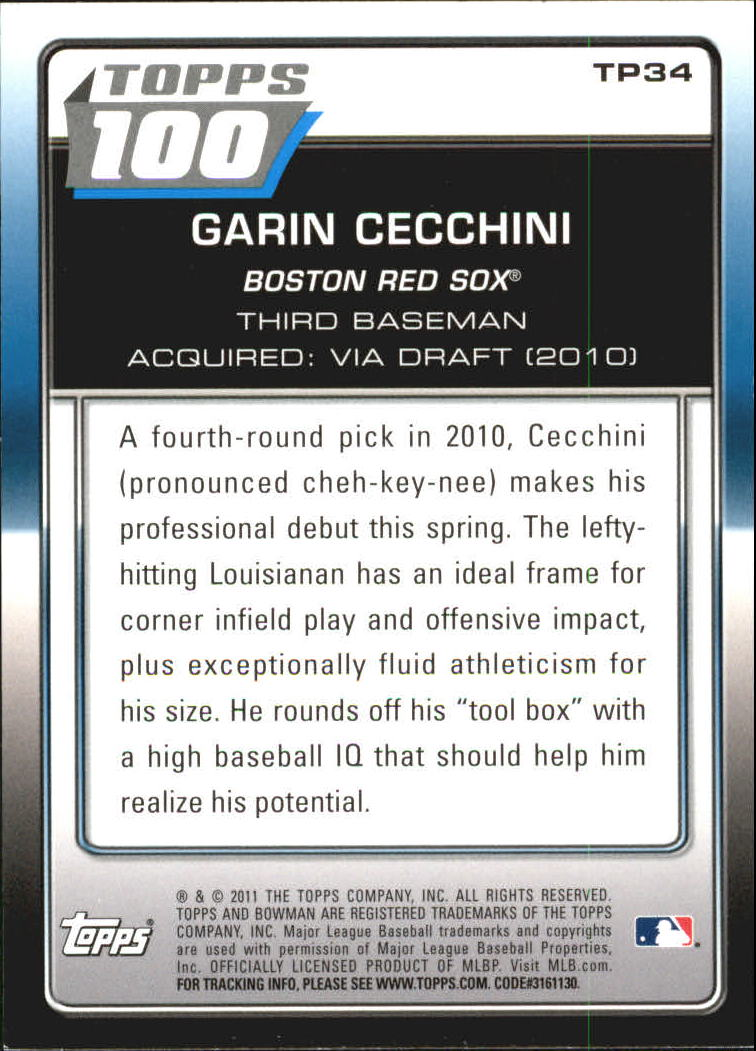 2011 Bowman Topps 100 #TP34 Garin Cecchini back image