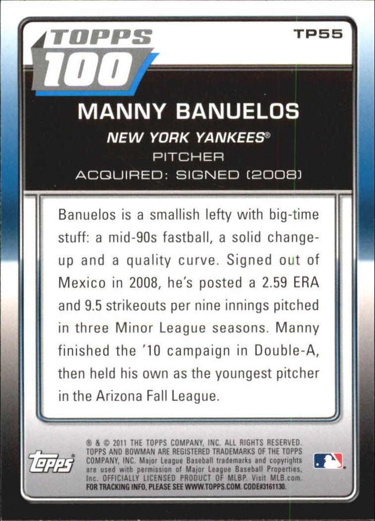 2011 Bowman Topps 100 #TP55 Manny Banuelos back image