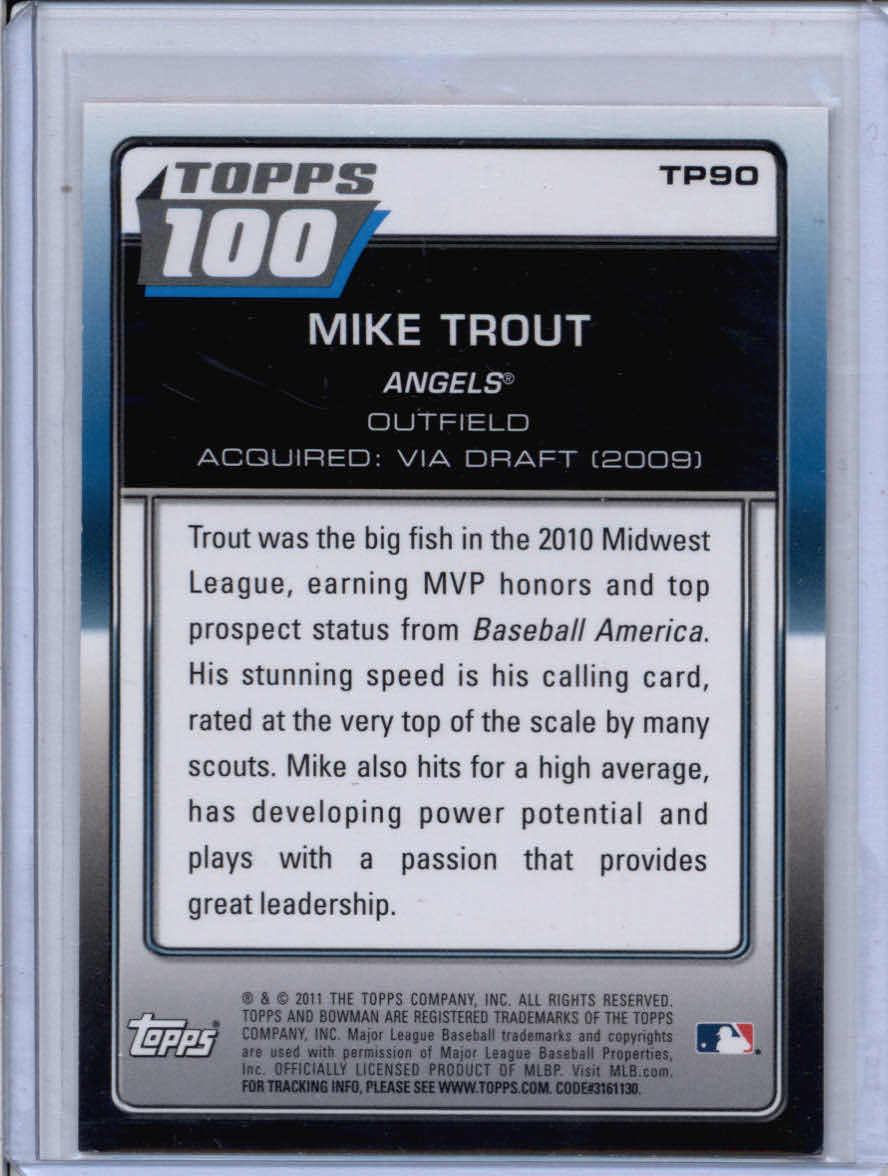 2011 Bowman Topps 100 #TP90 Mike Trout back image