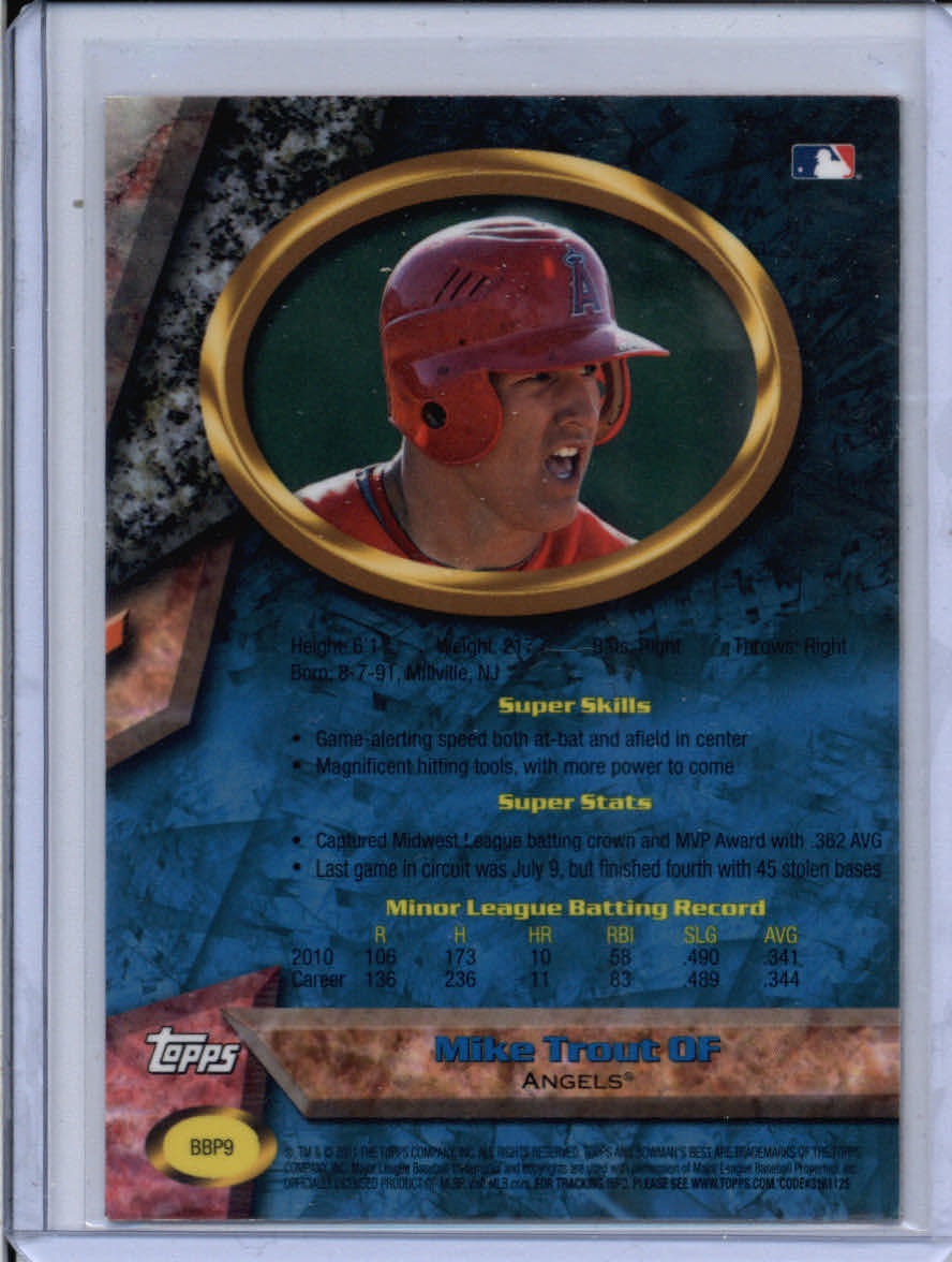 2011 Bowman Bowman's Best Prospects #BBP9 Mike Trout back image