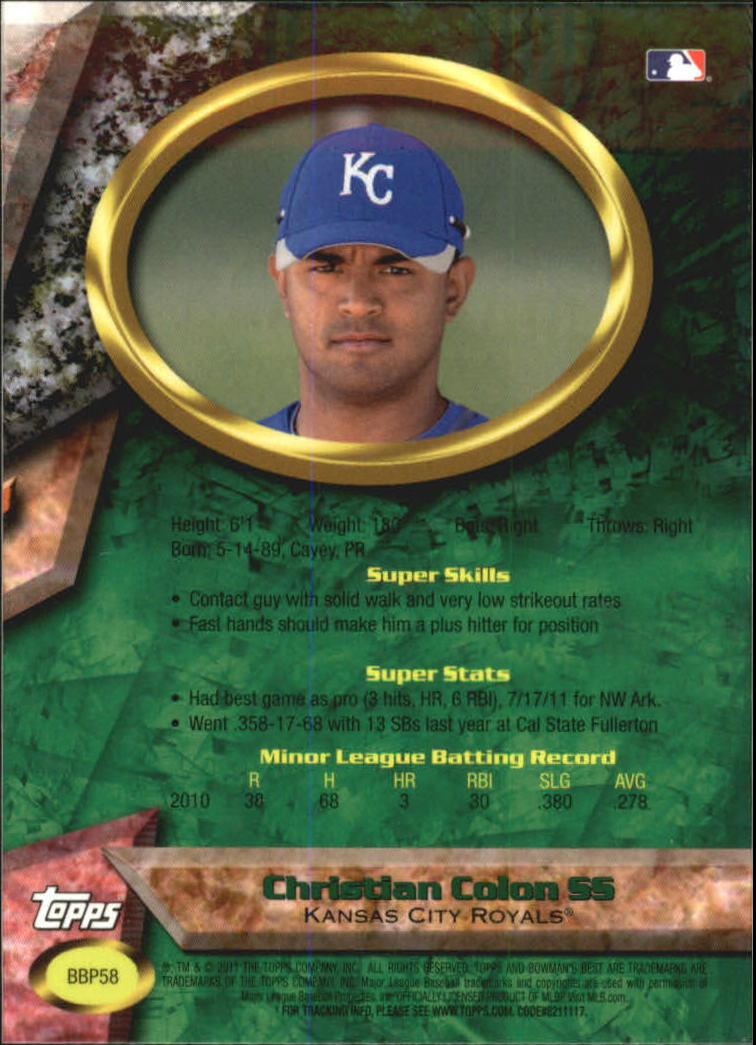 2011 Bowman Bowman's Best Prospects #BBP58 Christian Colon back image