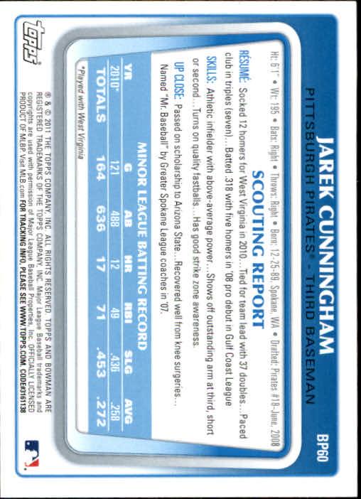 2011 Bowman Prospects #BP60 Jarek Cunningham back image