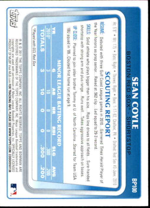 2011 Bowman Prospects #BP100 Sean Coyle back image