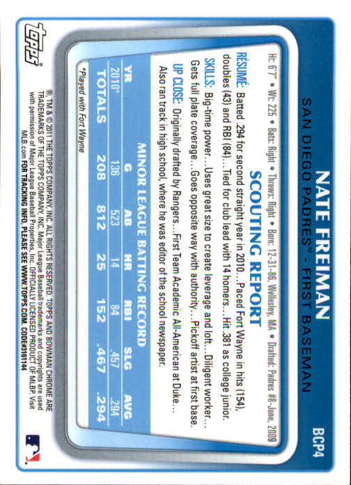 2011 Bowman Chrome Prospects #BCP4 Nate Freiman back image