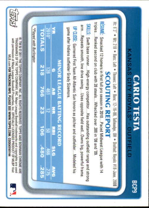 2011 Bowman Chrome Prospects #BCP9 Carlo Testa back image