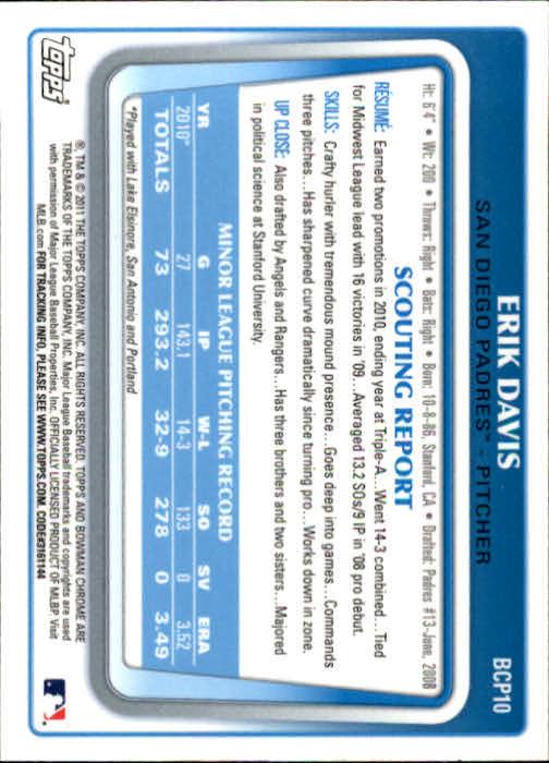 2011 Bowman Chrome Prospects #BCP10 Erik Davis back image