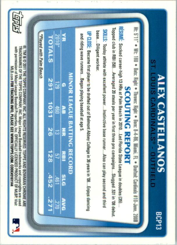 2011 Bowman Chrome Prospects #BCP13 Alex Castellanos back image