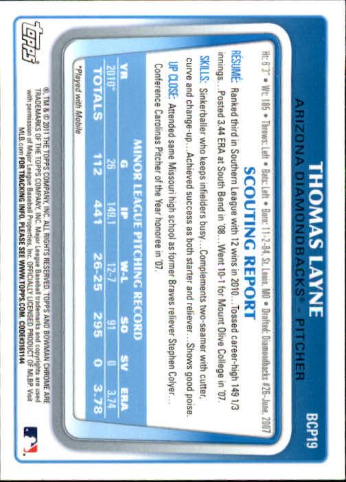 2011 Bowman Chrome Prospects #BCP19 Thomas Layne back image