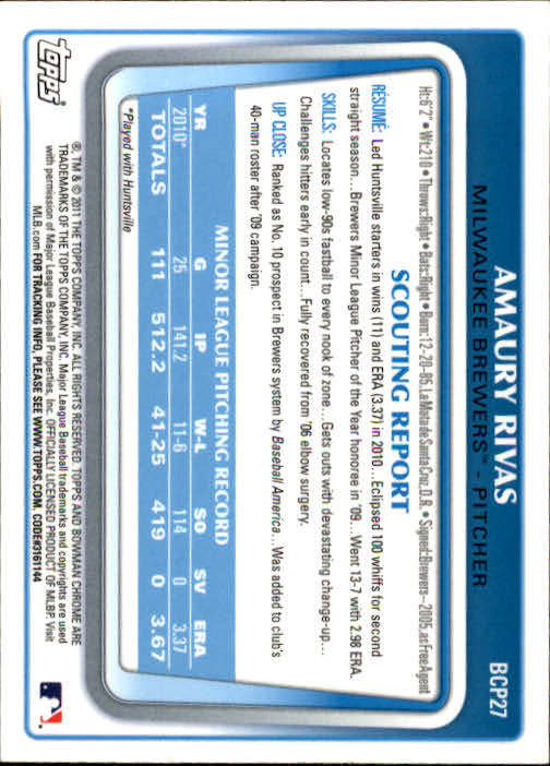 2011 Bowman Chrome Prospects #BCP27 Amaury Rivas back image