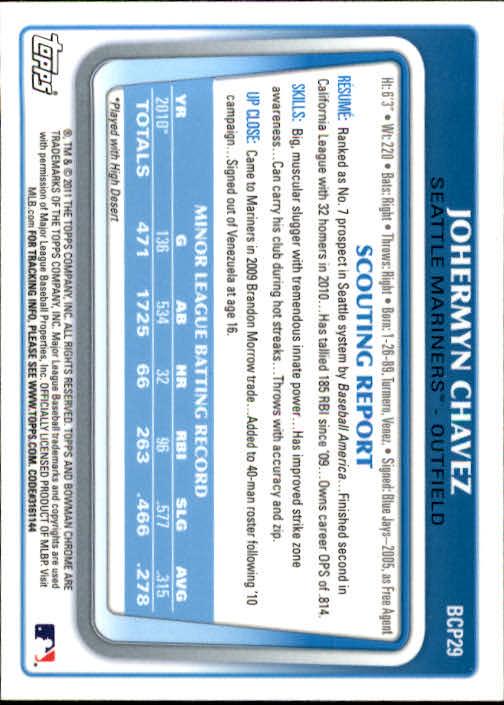 2011 Bowman Chrome Prospects #BCP29 Johermyn Chavez back image