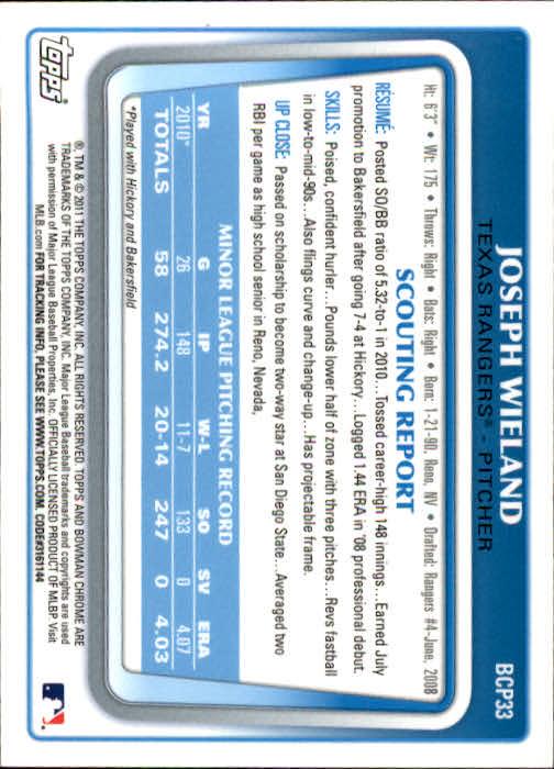 2011 Bowman Chrome Prospects #BCP33 Joseph Wieland back image